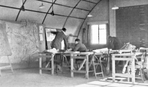 Planning a sortie in No. 142 Squadron's Briefing Room.