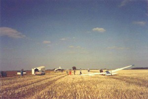 The first day's flying at Gransden Lodge by the Cambridge University Gliding Club, 16th September 1990.