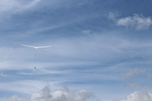 Glider during a winch launch